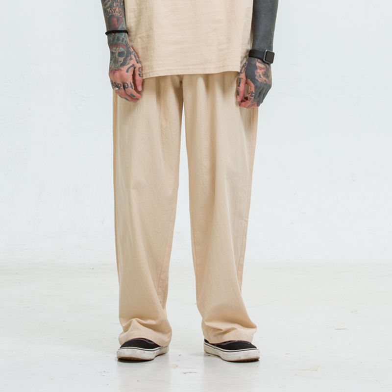 Spring And Summer Flax Casual Pants Men Straight-leg Pants Plus-sized-Cotton Linen Trousers Loose Big Yards Pants Chinese-style