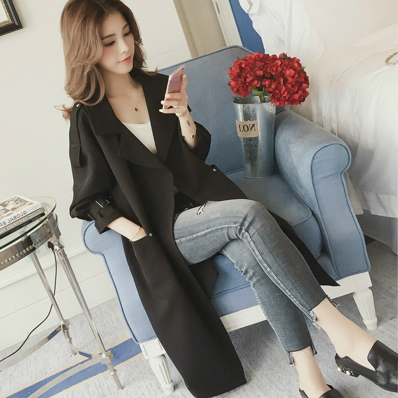 S 4XL Spring and Autumn 2019 New Fashion Leisure Long Windswear Ladies 39 Loose Coat in Trench from Women 39 s Clothing