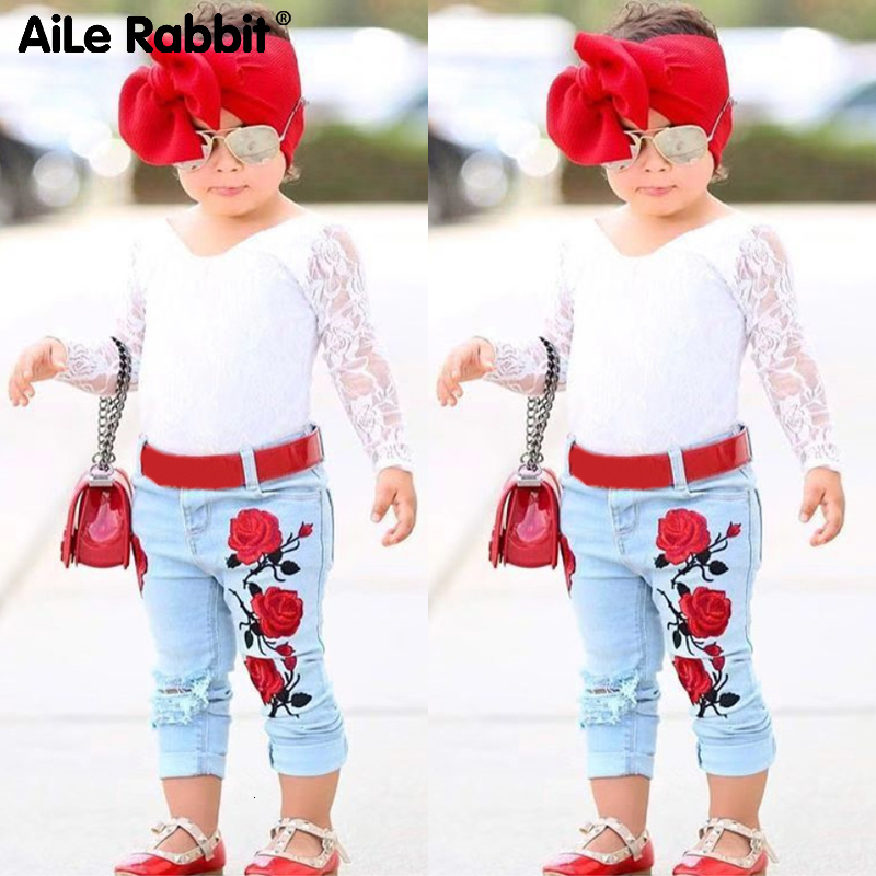 2019 New Arrival Girls Fashion Lace Suit Rose Jeans 2 Piece Set Headband INS European Style Children's Clothing Suit 1-6 Yeas