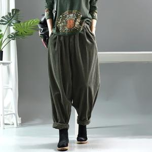 Image 4 - Women Pants Autumn Winter Large size Corduroy Loose Trousers 2019 New Elastic Waist pocket Casual Ladies Fashion Pants