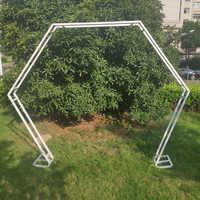 1pc doppel hexagonal arch schmiedeeisen bogen regal blume stand dekoration hintergrund rahmen hochzeit requisiten geburtstag partei liefert