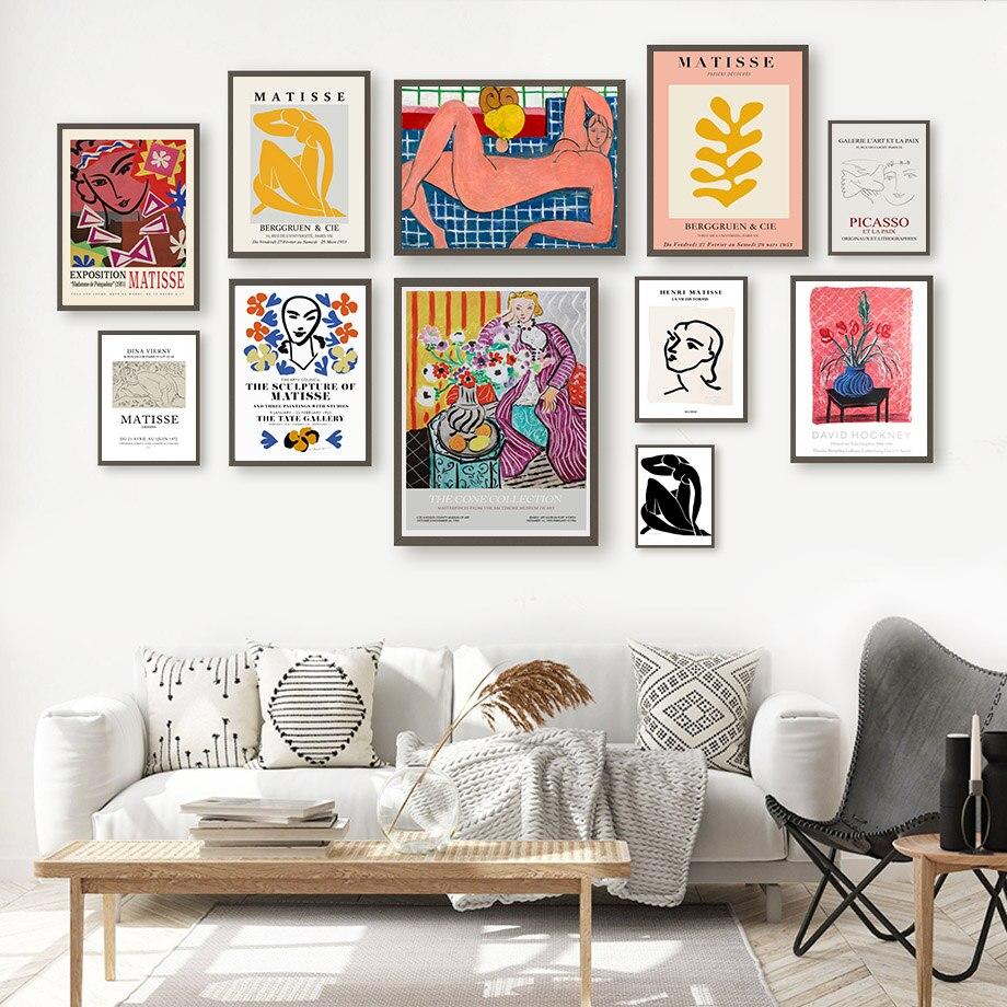 Современные фигурки Matisse для девушек, настенная Картина на холсте с листьями, скандинавские постеры и принты для украшения гостиной