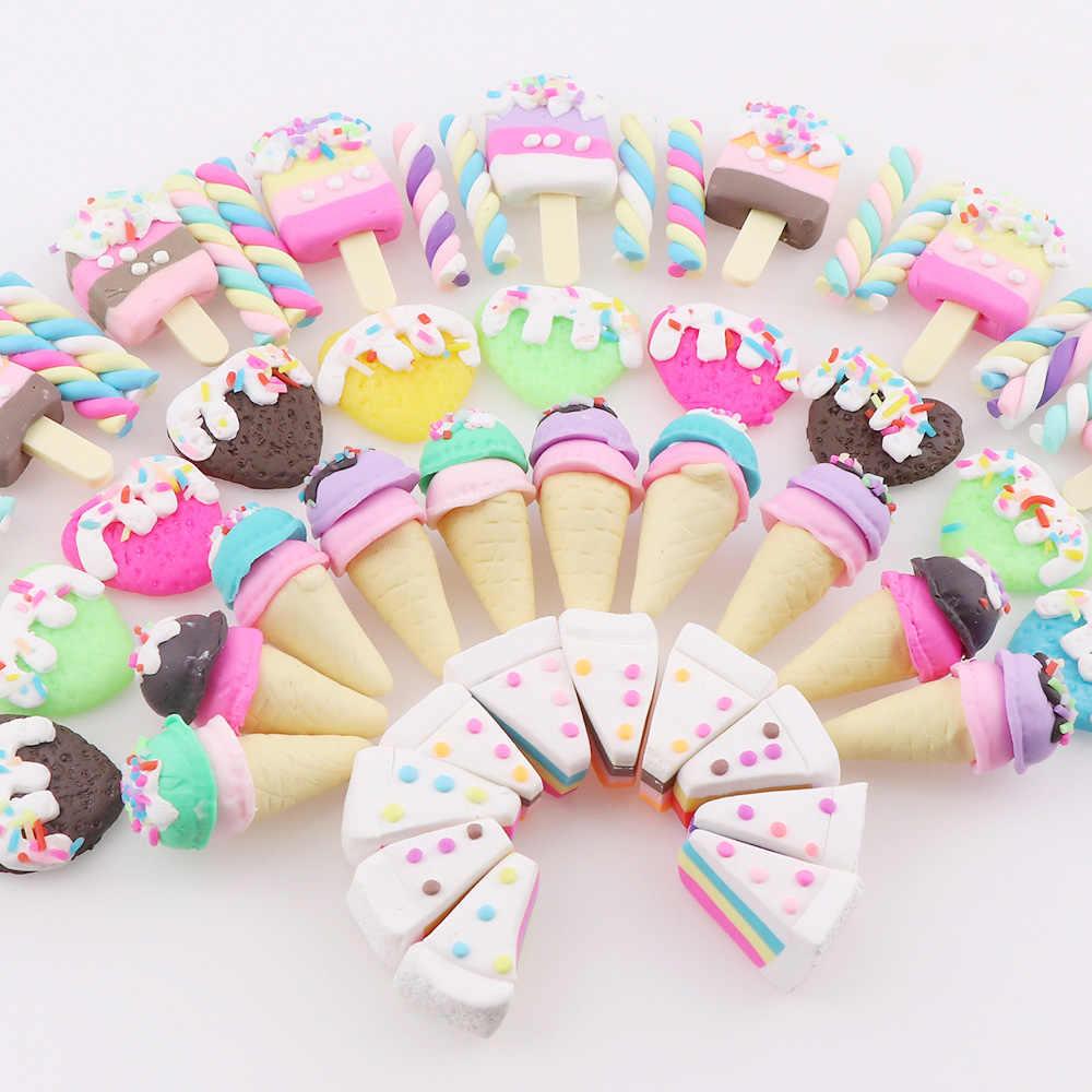 1-20 piezas 18 estilos combinados colores arcilla polimérica Corazón y arcoíris adornos de helado para álbum de recortes