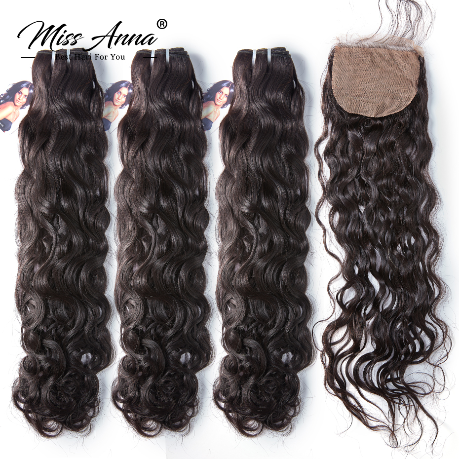 [MissAnna] OneCut Silk Base Indian Natural Wave Hair Weave 3 Bundles With Closure Remy Human Hair Bundles With Closure