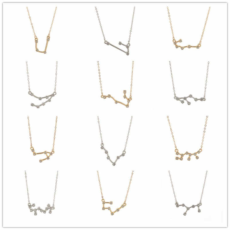 Fashion Jewelry Zodiac Crystal Star Sign 12 constellation Pendant Necklace For Women