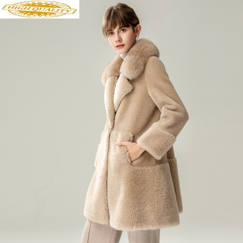 Real Fur Coat Female Fox Fur Collar Sheep Shearling Fur Jackets Winter Jacket Women 100% Woo Coats Chaqueta Mujer MY3986
