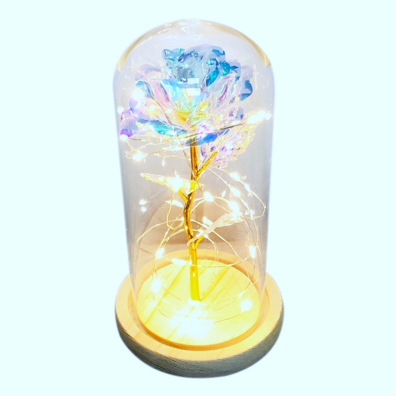 Beauty & The Beast Gold-Plated Rose With Led Light In Glass Dome For Wedding Party Mother'S Day Gift