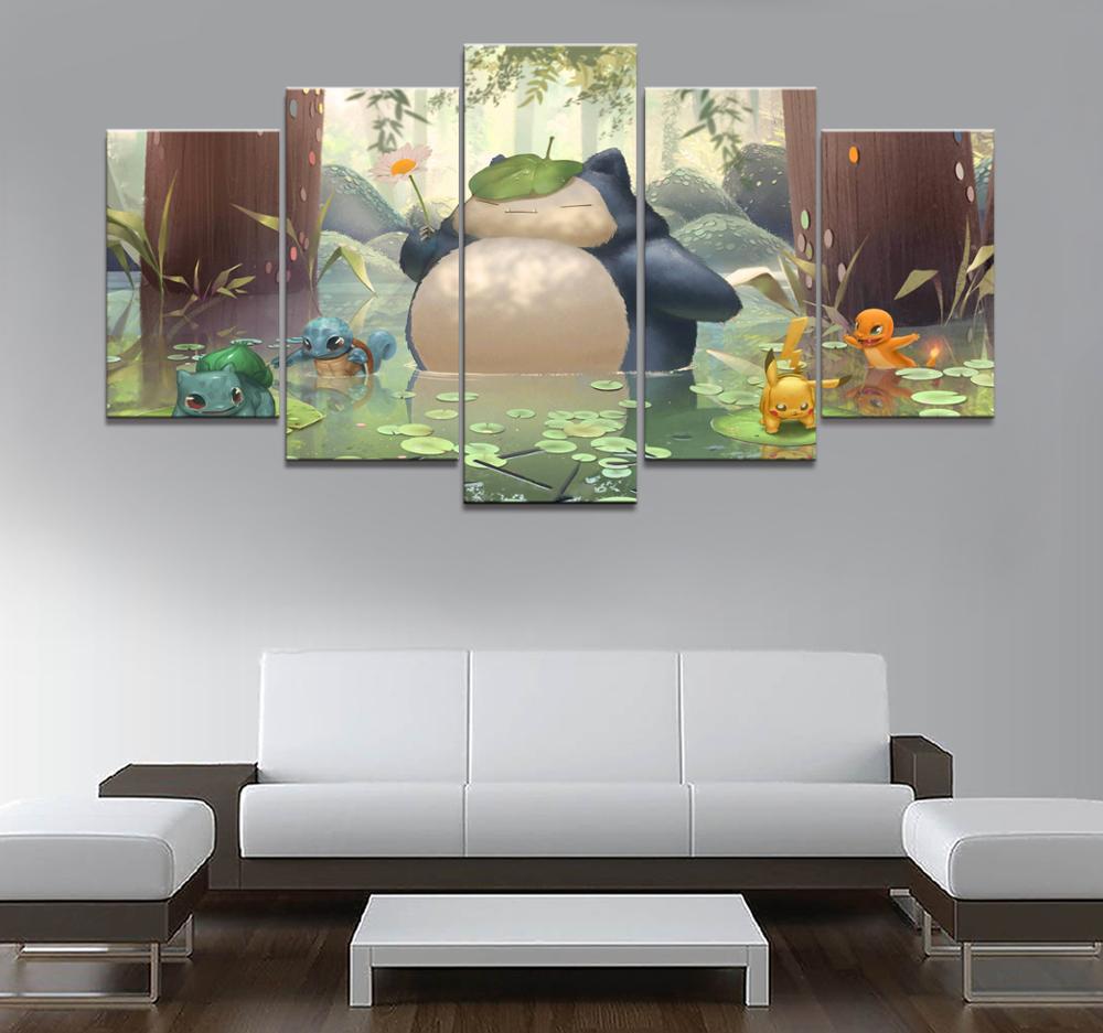 Домашний декор плакат hd фотографии печать холст 5 шт. модульный классический мультфильм Покемон игра гостиная декоративная живопись рамка|Рисование и каллиграфия|   | АлиЭкспресс