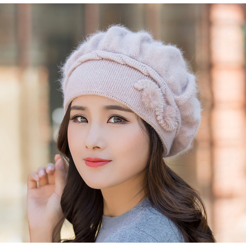 Women Beret Angora Winter Hat Warm Knit Beanie Headwear Casual Soft Double Layers Thermal Skiing Snow Outdoor Accessory