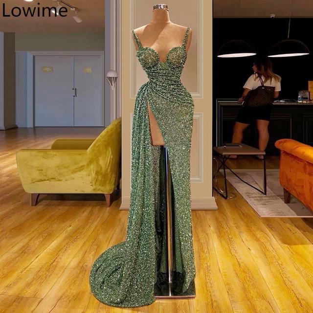 Женское длинное коктейльное платье, элегантное платье зеленого цвета маття, кафтан с юбкой годе, вечернее платье для выпускного вечера, 2019