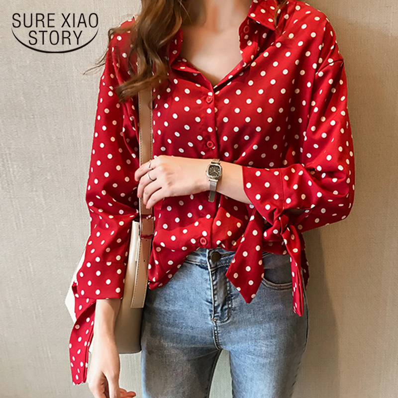 2019 outono plus size blusas femininas casuais polka dot camisas femininas arco manga comprida chiffon blusa M-4XL 1202 40