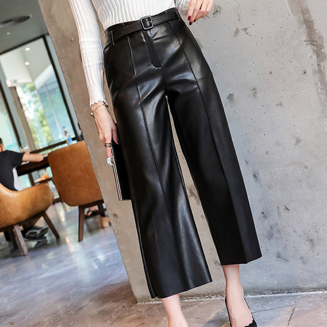 Autumn Faux PU Leather Pants Women With Belt High Waisted Wide Leg Anke-length Women's Trousers 2019 Winter NEW Fashion Clothes