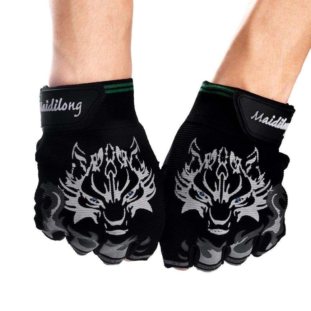 Men Wolf Head Antiskid Cycling Gym Sports Golves Male Breathable Half Finger Glove Men Driving Racing Gloves Gant Hiver Homme