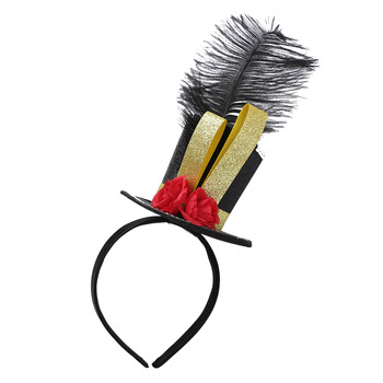 Kids Circus Ringmaster Feather Hat Headwear Halloween Carnival Party Fancy Mini Top Hat Nutcracker Cosplay Accessories Headband image