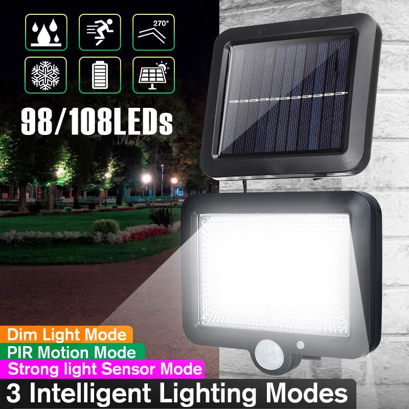 98 /108 Lamp Beads COB 3 Modes LED Solar Lamp Outdoor Waterproof PIR Motion Sensor Solar Powered Garden Light Security Wall Lamp