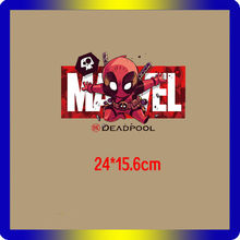 1PCS Deadpool Cartoon Marvel Avengers Hero Heat Transfer Sticker Patch For T-shirt Accessories DIY Apparel Thermal Printing(China)