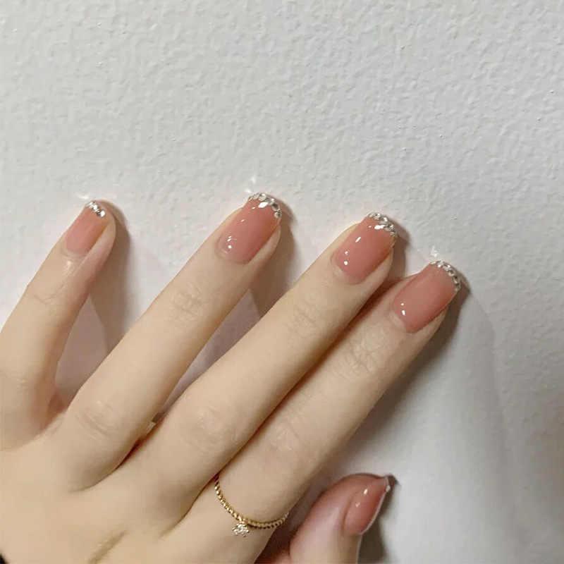 24 шт поддельные ногти с клеем квадратные накладные ногти искусство украшения аксессуары для ногтей советы для лета закругленные матовые винно-красные накладные ногти