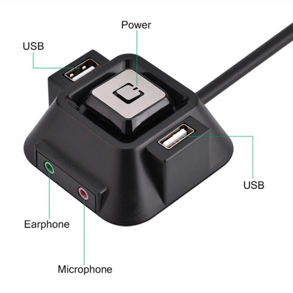 New Desktop PC Case Switch Power On/off Button With Dual USB Ports With Audio Mic / Microphone Ports Jack