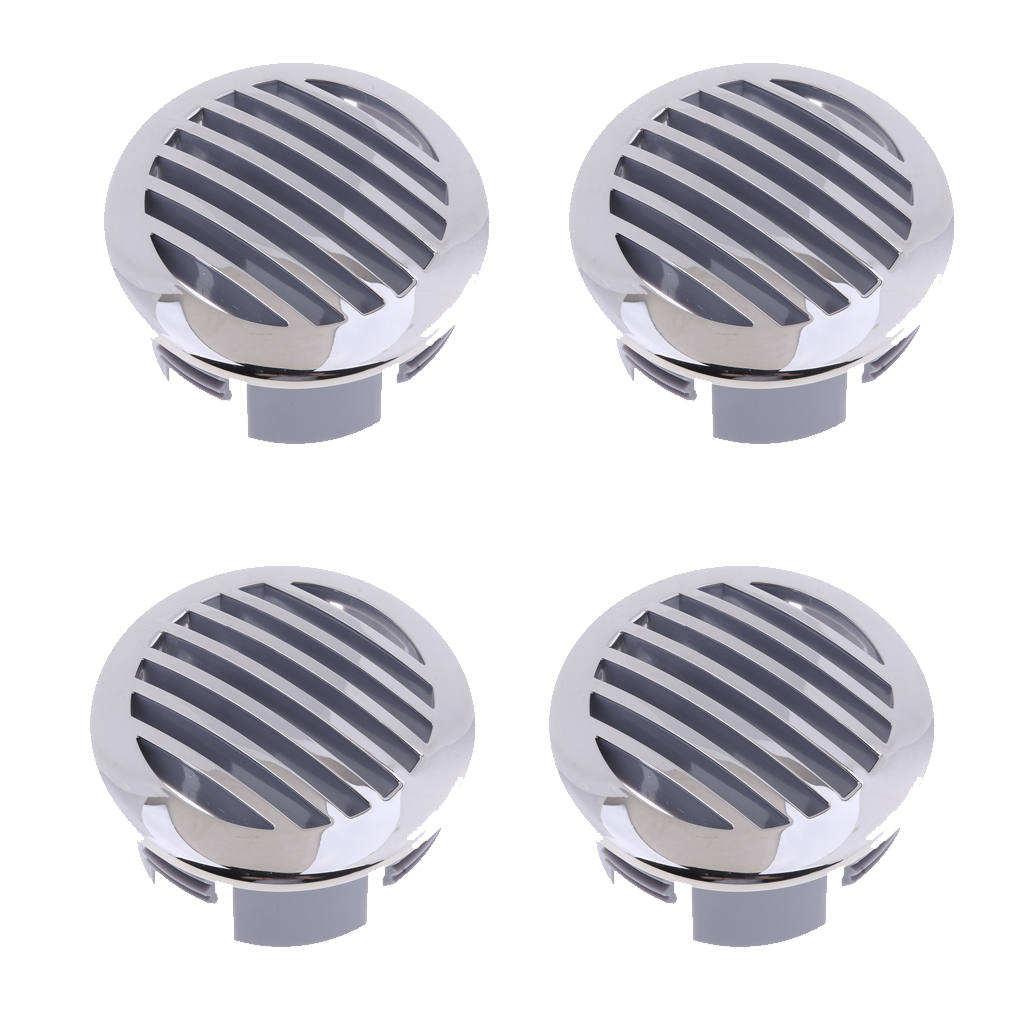 4Pcs RV Boat 3' 76mm Stainless Steel Curved Clad Airflow Vent 81932SS-HP