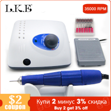 LKE New 65W Strong 210 102L Brushless Nail Drills Manicure Machine Pedicure Electric Strong 35000RPM File Bits Nails Art Equipme купить недорого в Москве