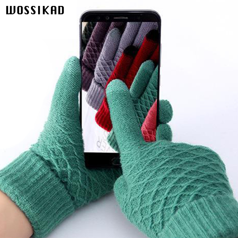 Gloves Winter Guantes Invierno Mujer Plus Thick  Warm Neri Velvet Five Fingers Touch Screen Eldiven Modis Gants Femme Mittens