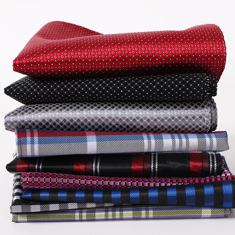 Men Handkerchief Silk 100% Woven Grid Stripe Pattern Men's Business Casual Square Pocket Handkerchief Wedding Hankies
