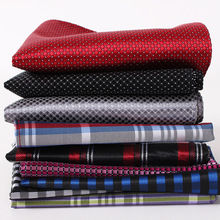 Men Handkerchief Silk 100% Woven Grid Stripe Pattern Mens Business Casual Square Pocket Wedding Hankies
