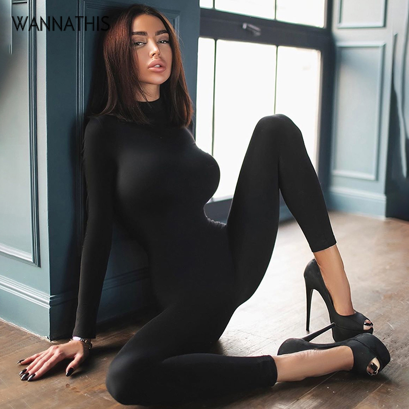 WannaThis Workout Active Wear Rompers Women Jumpsuit Sporty Hight Neck Long Sleeve Fitness Zipper Jumpsuit Elastic Skinny Casual