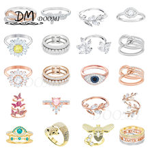 2020 Fashion Jewelry SWA 1:1 Exquisite Bowknot Fox Bee Butterfly Leaf Crystal Brick Twisted Style Lady Ring A Gift for Friends