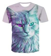 Популярные Животные Креативный дизайн 3d печать футболка летний