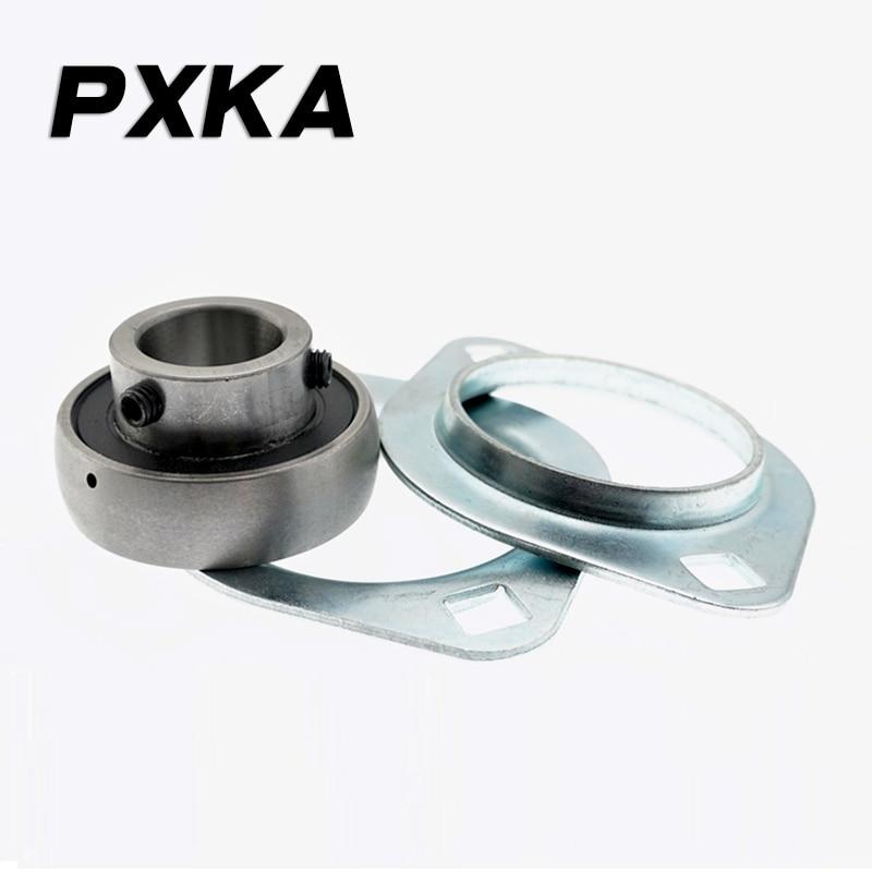 Free Shipping 2PCS Diamond Steel Plate Stamping Outer Spherical Bearing Seat SB+PFL203/204/205/206/207/208/209