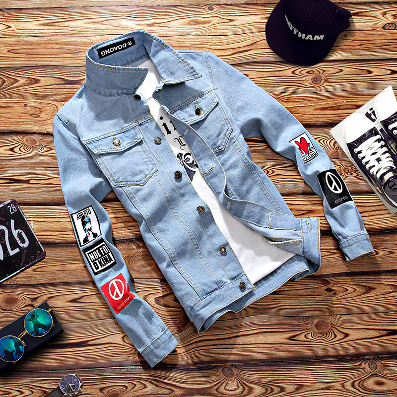 Jacket Chaqueta Hombre Solid Casual Slim Mens Denim Jacket Bomber Jacket Men Cowboy Men's Spring Jean