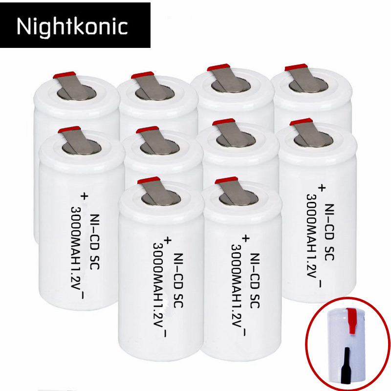 10 Pcs/lot NIGHTKONIC  SC Rechargeable  Battery 3000mAh Rechargeable Subc Battery Replacement 1.2 V NI-CD With Tab