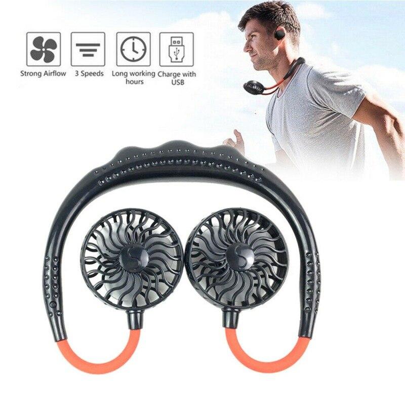 Mini Neck Fan USB Portable Dual-Head Fan Neckband Rechargeable Small Desk Fans Handheld Air Cooler Hanging Sport Fan