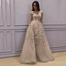 Dreamy Bridal Luxury Beaded Evening Dresses Sheer Long Sleeves Formal Gowns Embroidery lace Pearls Vestidos 2019