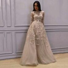 Ensueño nupcial lujosa con cuentas Vestidos de noche pura mangas largas Formal Vestidos de encaje bordado perlas Vestidos 2019