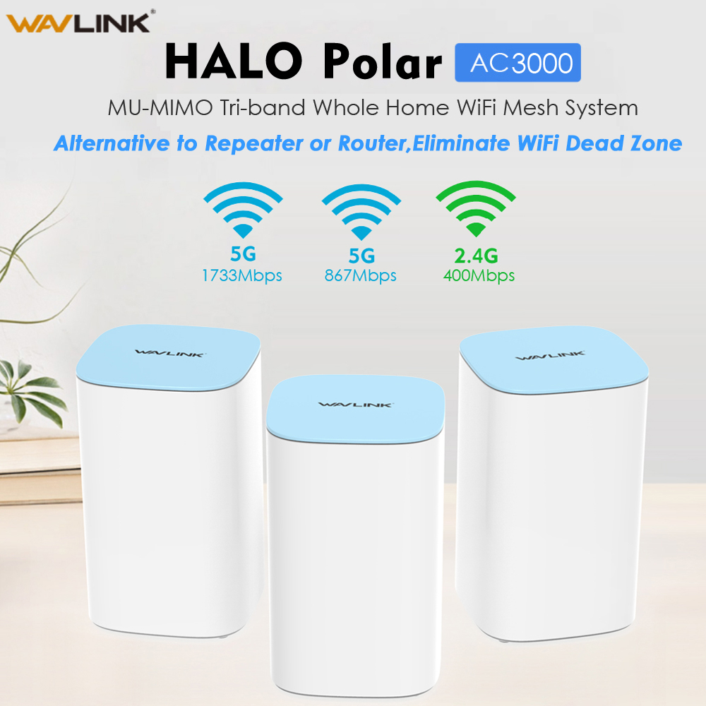 Wavlink AC3000 Mesh WiFi Router WiFi Extender 2.4GHz 5.0GHz Tri-Band Whole Home WiFi Mesh Router Wireless Repeater Wifi Booster