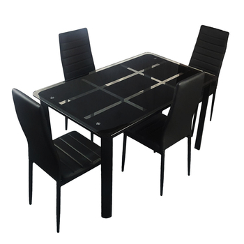 Rectangle Tempered Glass Dining Table with Nine Block Box Pattern Dining Table Set Black Fashion Simple Desk Chair Kit