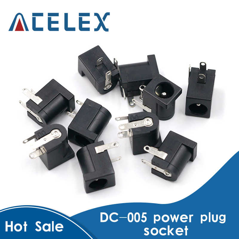 10Pcs DC-005 Hitam DC Power Jack Connector DC005 5.5*2.1Mm 2.1 Soket Bulat Jarum