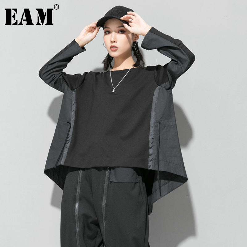 [EAM] Loose Fit Black Back Long Oversized Sweatshirt New Round Neck Long Sleeve Women Big Size Fashion Autumn Winter 2020 1D687