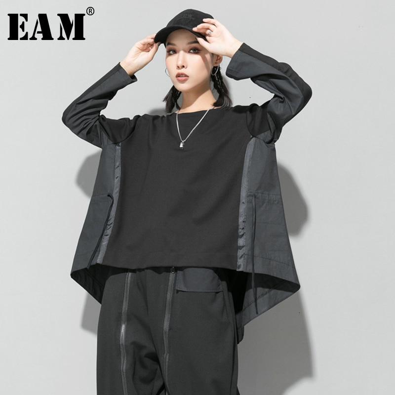 [EAM] Loose Fit Black Back Long Oversized Sweatshirt New Round Neck Long Sleeve Women Big Size Fashion Spring Autumn 2020 1D687