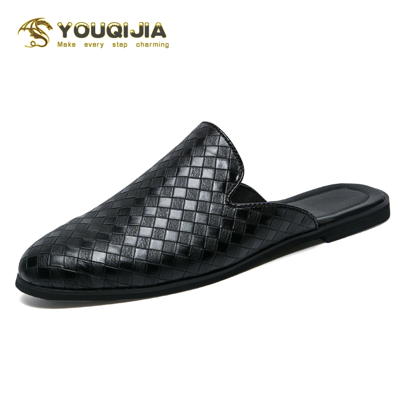 Fashion Men Half Loafers Pu Leather Slippers Weaving Loafer Slides Breathable Mules For Man Outdoor Lightweight Half Shoes