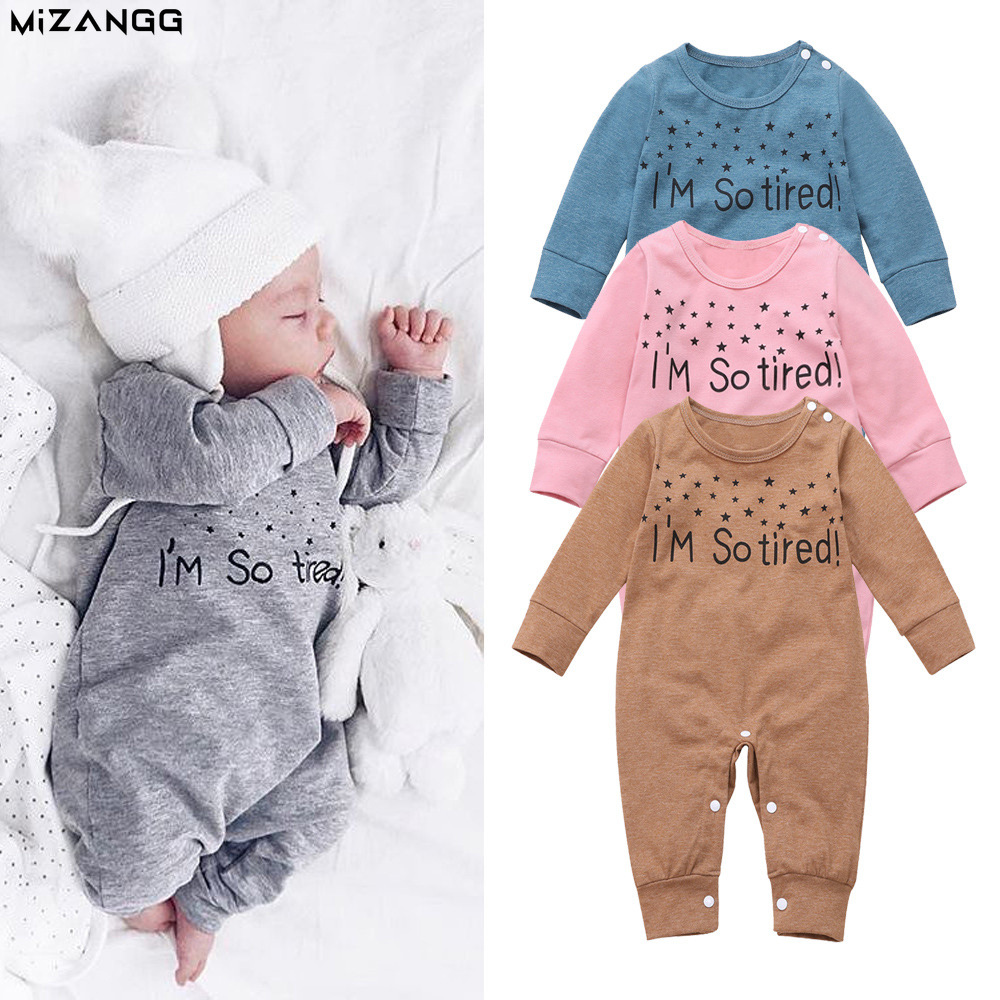 Baby clothes newborn jumpsuit letter printing boys girls cotton long-sleeved romper romper baby jumper toddler baby clothing