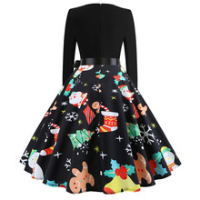 New Hot Women Christmas Print Dress Round Neck Long Sleeve Dress for Christmas Party YAA99 christmas print skater party dress