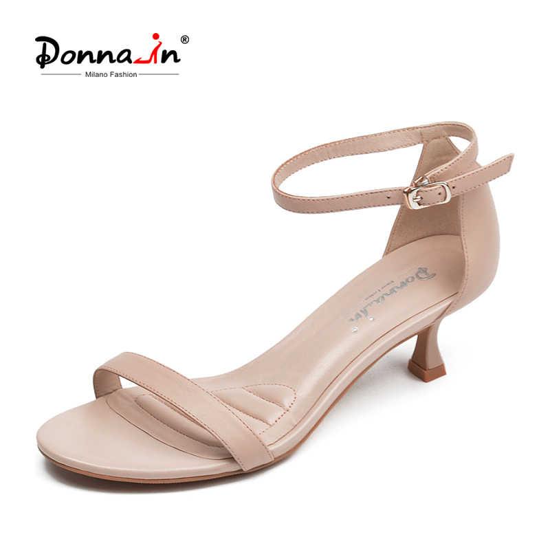 Donna-in hakiki deri topuklu sandalet koyun derisi kadın yaz ayakkabı burnu açık zarif bant toka kayış sandalet kadın ayakkabısı