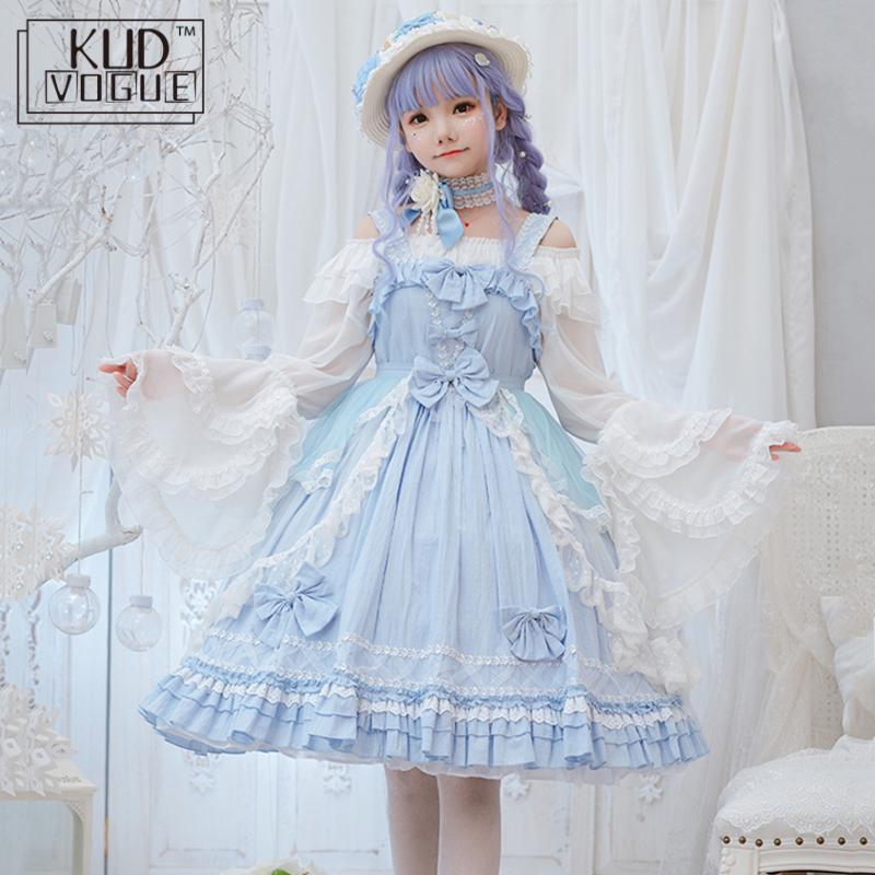 Princess Tea Party Sweet Lolita Dress Vintage Falbala Lace Bowknot High Waist Victorian Dress Kawaii Girl Gothic Lolita Jsk Cos