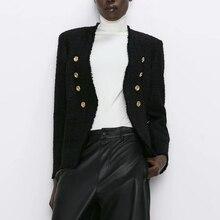 2019 Autumn Women's suit casual vintage chic coat tweed jacket female double but