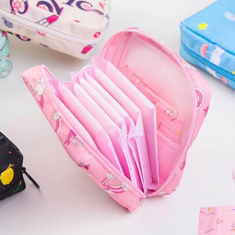 Aunt Sanitary Napkin Storage Bag Women Makeup Bag Portable Storage Lipstick Organizer Square Travel Cosmetic Bags Wash Package