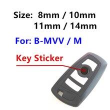 Porte-clés 3D en époxy ou en métal, 10 pièces, autocollant de coque de clé de voiture, Badge emblème symbole couleur bleu blanc 14mm 11mm 10mm 8mm