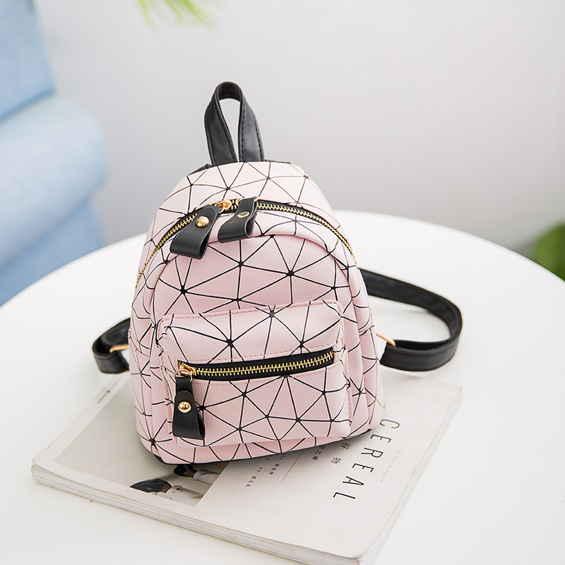 LISM New Women's Bag Fashion Backpack Wild Women's Shoulder Bag Mini Bag Geometric Pattern Bag Mobile Phone Bag